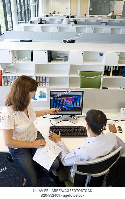 Designers working with  PCs. MEF Calculations. Fatronik Foundation, Research Technology Center. Donostia-San Sebastián, Euskadi. Spain