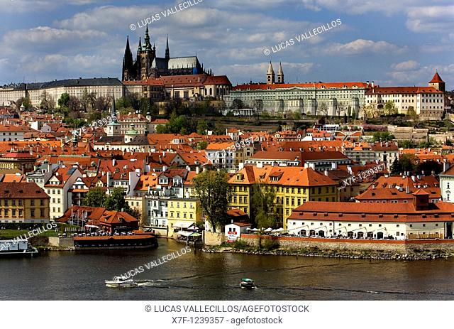 Vitus Cathedral, Prague Castle, Vltava River Prague  Czech Republic