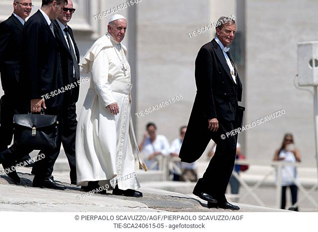 Pope Francis during the General audience, St. Peter square, Vatican, Rome, ITALY-24-06-2015    Journalistic use only