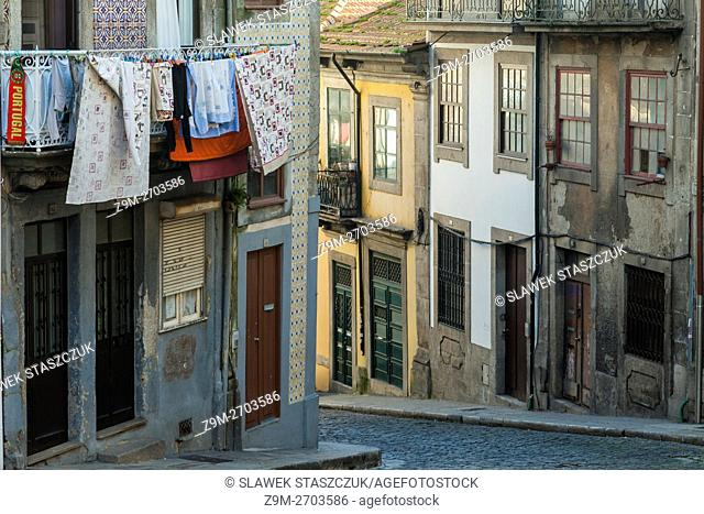 Cobbled street in Ribeira, Porto, Portugal