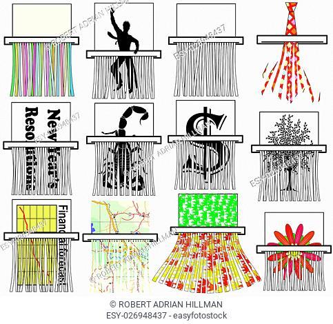 Set of various editable vector document shredder designs