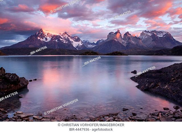 Cuernos del Paine mountain range at sunrise, Lake Pehoe, Torres del Paine National Park, Chile