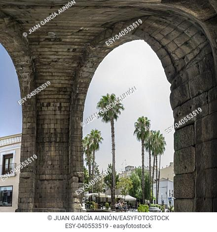 Roman Arch of Trajan, monumental access gateway to ancient Emerita Augusta, Merida, Spain. Panoramic