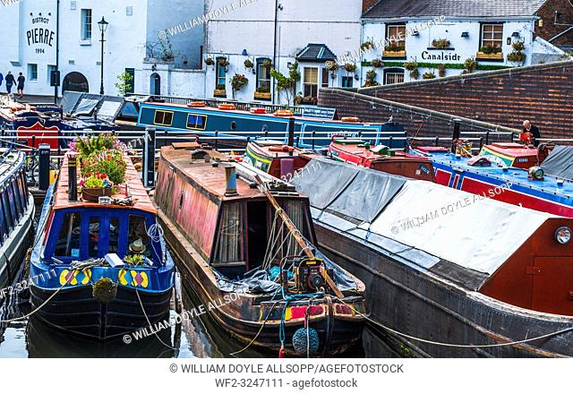 Narrowboats moored in Gas Street Basin central Birmingham