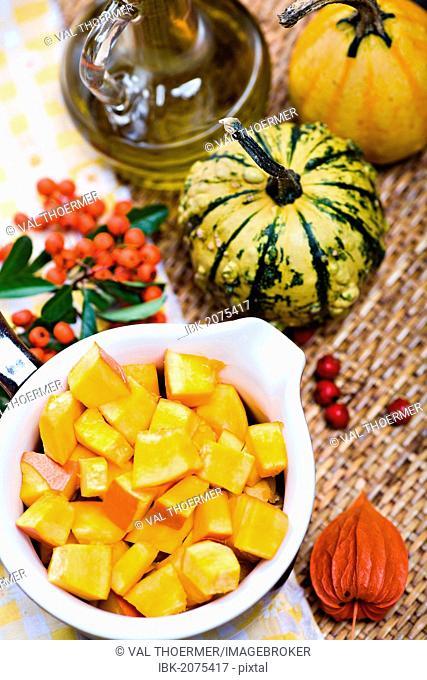 Ingredients to prepare pumpkin dishes