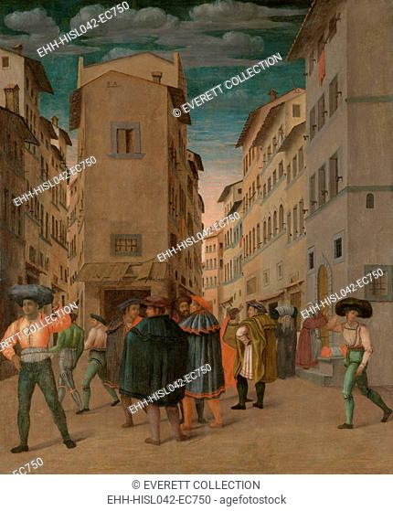 Florentine Street Scene with Twelve Figures (Sheltering the Traveler, One of the Seven Works of Mercy), by Anonymous, 1540-60, Italian painting, oil on panel