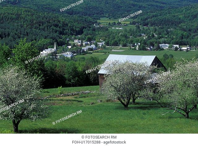 spring, Worcester, VT, Vermont, Scenic view of the village of Worcester from an apple orchard in the spring