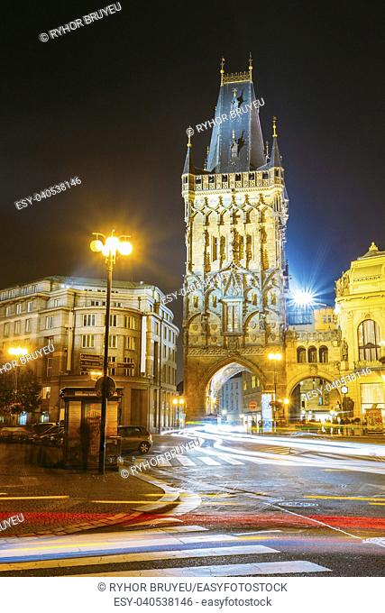 Night view of the Powder Tower or Powder Gate. This landmark is a Gothic tower in Prague, Czech Republic. It is one of the original city gates
