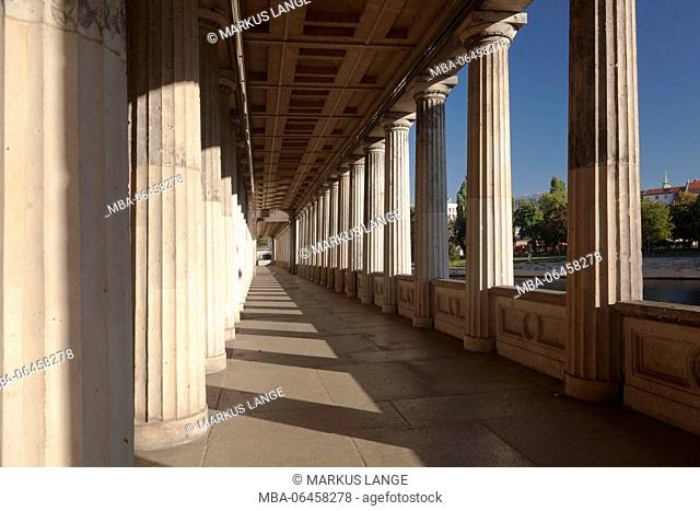 Colonnades, old national gallery, Museumsinsel / Museum Island, middle, Berlin, Germany