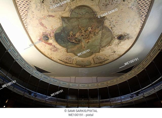 Ceiling fresco inside the historic Teatro Tomas Terry, Cienfuegos, Cuba