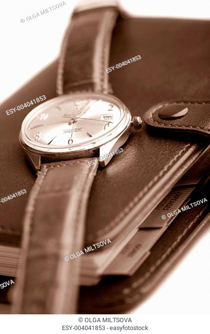 leather organizer and watch isolated shallow DOF