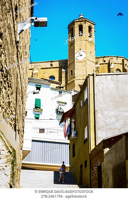 A vertical church view in Balaguer town, Lerida province, Catalonia, Spain