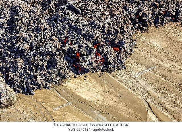 Hot lava creeping by tire tracks. Eruption site at Holuhraun near Bardarbunga Volcano, Iceland. August 29, 2014 a fissure eruption started in Holuhraun at the...