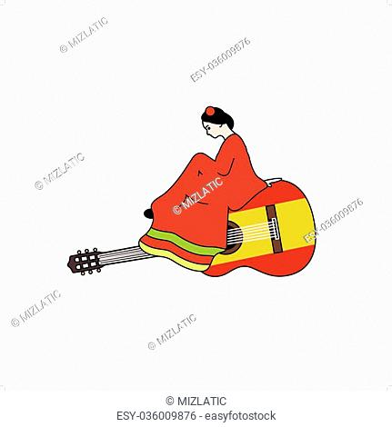 Beautiful stylized girl in red dress sitting on spanish guitar vector illustration isolated on white background