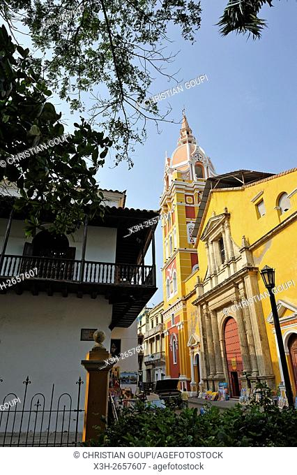 Cartagena Cathedral Basilica of Saint Catherine of Alexandria seen from the Bolivar Square, downtown colonial walled city, Cartagena, Colombia, South America