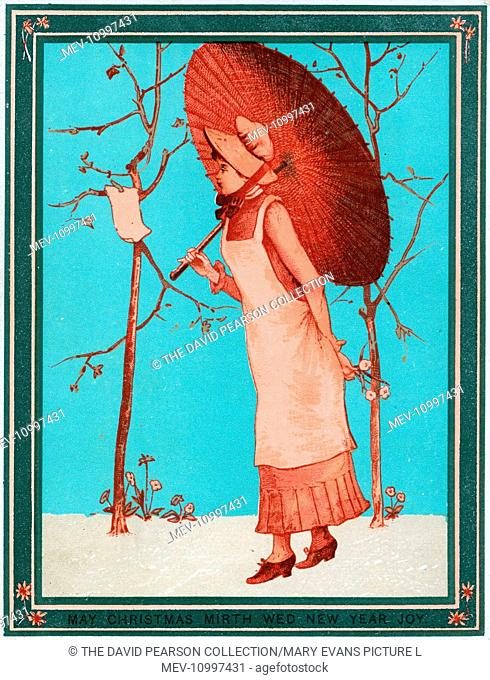 Lady with a parasol on a Christmas and New Year card, reading a notice pinned to a tree