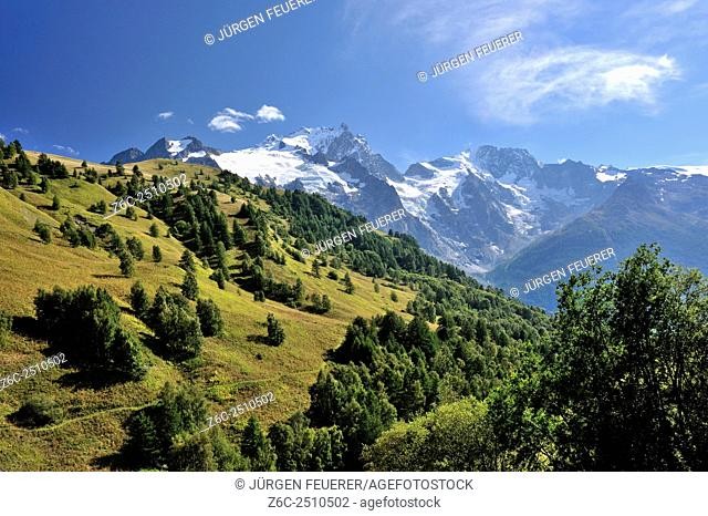 Alpine scenery with green hills and snowcapped mountains, Hautes-Alpes, French Alps, France