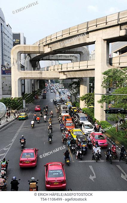 Traffic on the Siam Square in Bangkok