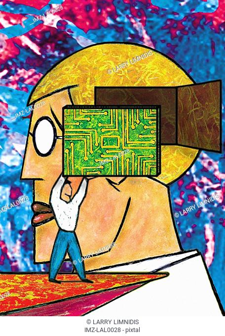 An image of a small figure putting an electrical or computer chip into a males head