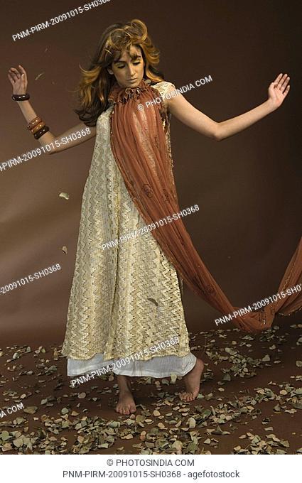 Woman posing in autumn