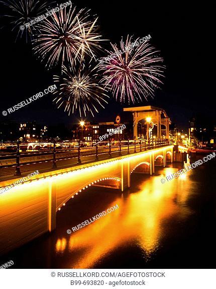 Magere Brug Skinny. Bridge Amstel Canal. Amsterdam Holland