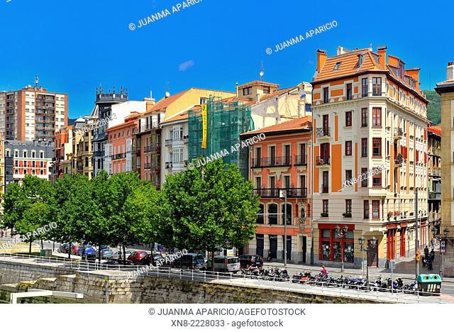 Buildings of Bilbao, Biscay, Basque Country, Euskadi, Spain, Europe