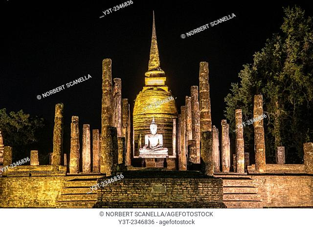 Asia. Thailand, old capital of Siam. Sukhothai archaeological Park, classified UNESCO World Heritage. Wat Sa Sri by night
