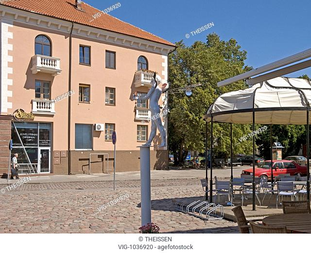 theater place restaurant with fantasy statue town Klaipeda at the district Klaipeda Memel Territory, East Prussia, Lithuania, Baltic states
