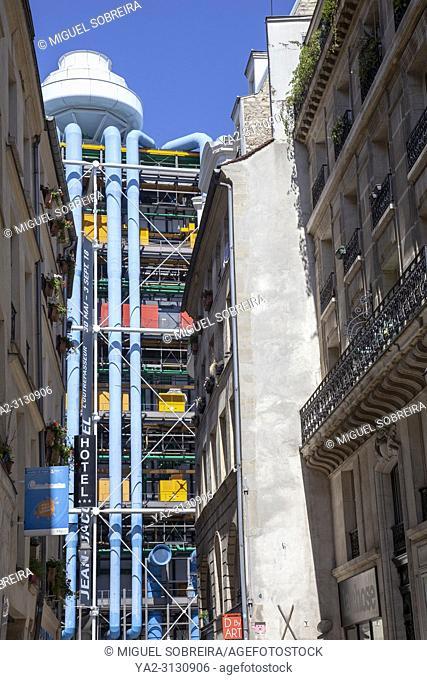 Pompidou Centre Viewed from Rue Simon le Franc in Paris, France