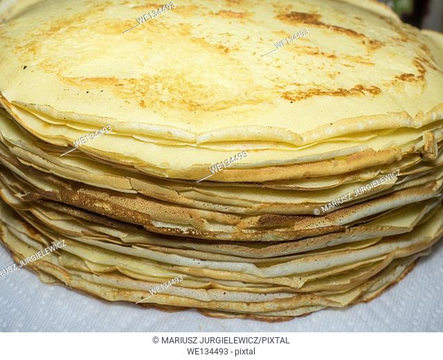 Stack of freshly made and still warm homemade crepes