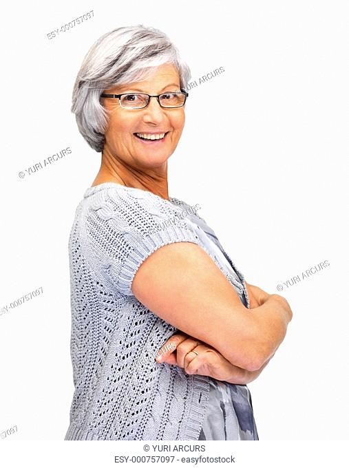 Senior happy woman standing with hands folded over white background