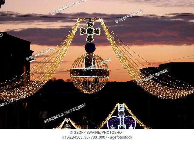 Windsor Town is decorated with crown and orb lights above the High Street 19 Nov 2017                         Christmas Lights, Windsor, Berkshire