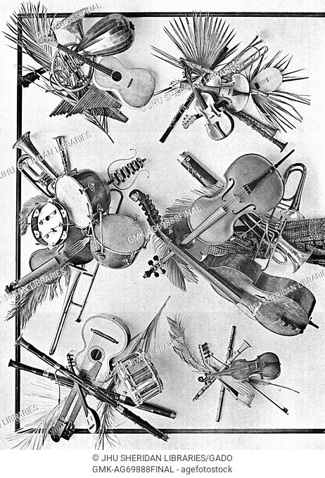 """Image from a series entitled """"""""Festoons and Decorative Groups by Martin Gerlach"""""""", depicting instruments including guitars, banjos, drums, cellos, violins"""