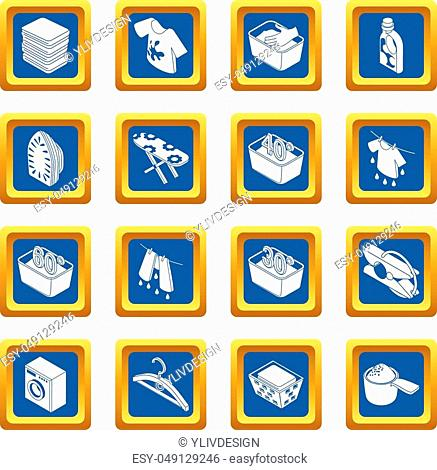 Laundry icons set vector blue square isolated on white background