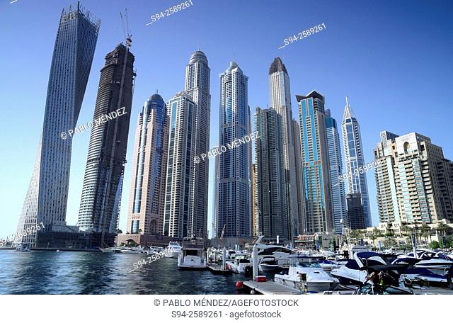 Dubai Marina skyscrapers of Dubai, United Arab Emirates