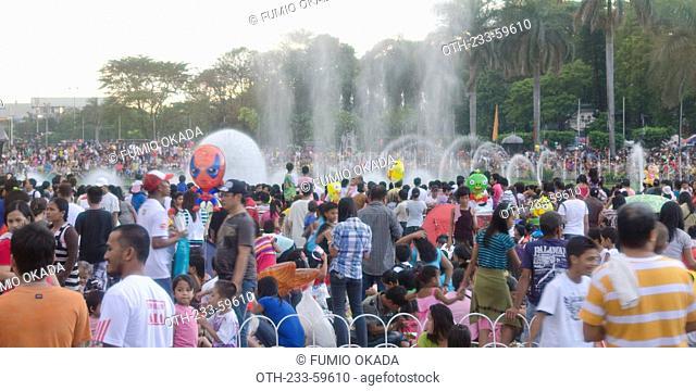 People celebrating christmas at Luneta, Manila, Philippines