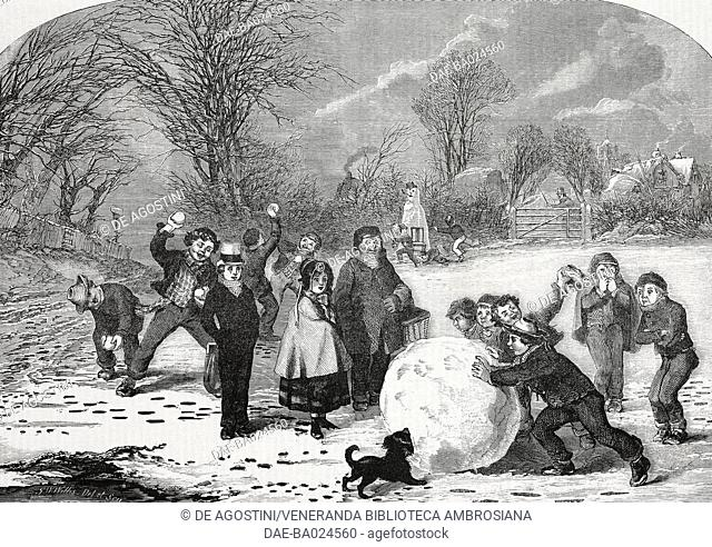 Snowy morning in London, United Kingdom, illustration from Il Giornale Illustrato, Year 2, No 13, March 31-April 6, 1865