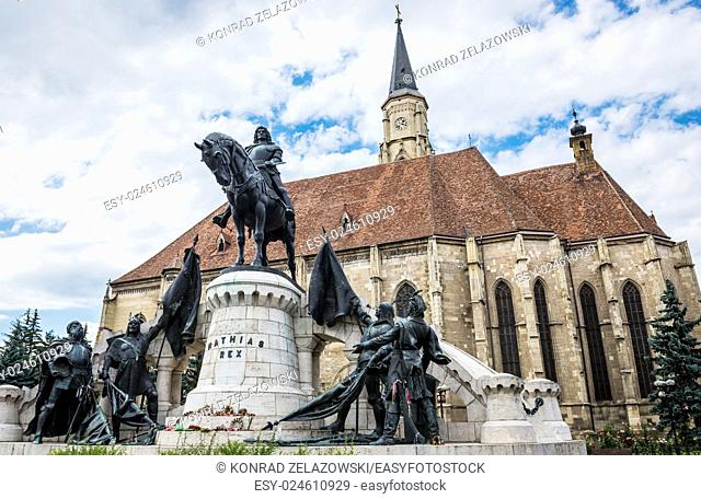 Matthias Corvinus Monument in front of St. Michael's Church in Cluj-Napoca city in Romania