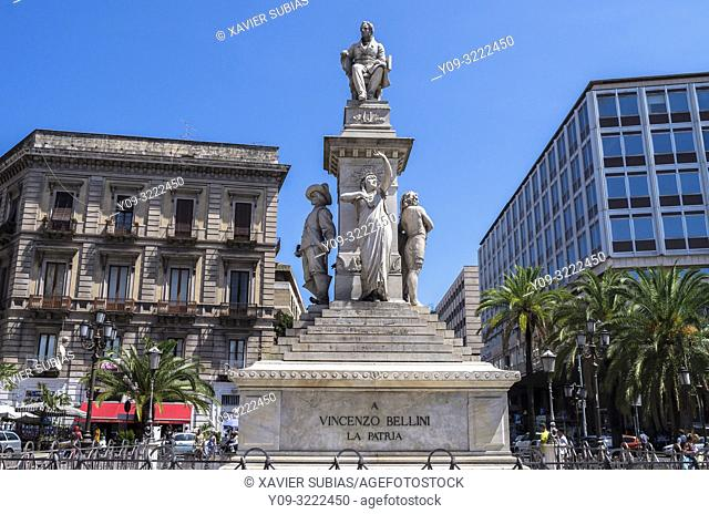 Vincenzo Bellini monument, Piazza Stesicoro, Catania, Sicily, Italy