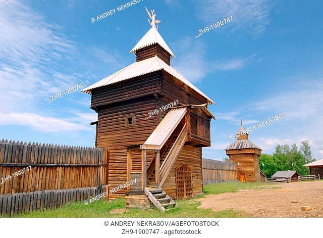 Spassky passable tower of the Ylym jail, 1667  'Taltsa's' Talzy - Irkutsk architectural and ethnographic museum  Baikal, Siberia, Russian Federation