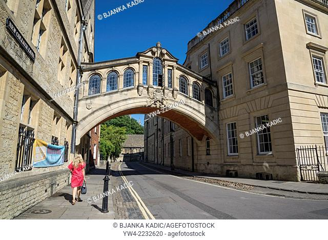 Hertford Bridge, popularly known as the Bridge of Sighs, is a skyway joining two parts of Hertford College over New College Lane in Oxford, England, UK