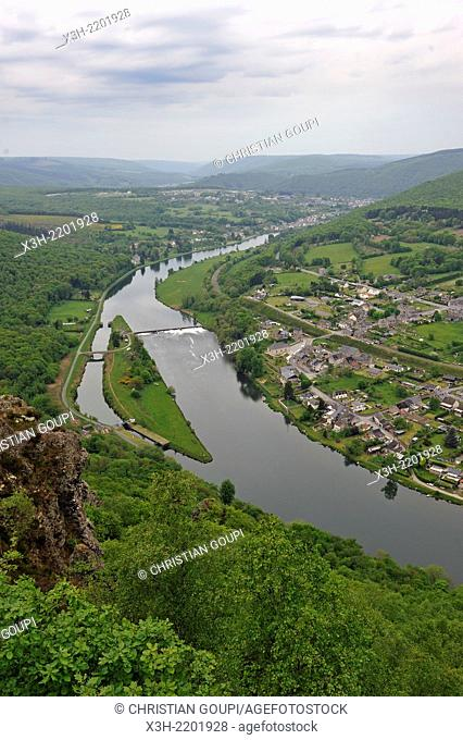 meander of the Meuse River at Fepin, near Haybes, viewpoint at Bois du Ridoux, Ardennes department, Champagne-Ardenne region of northeasthern France, Europe