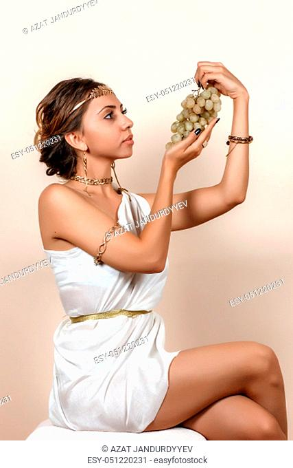 wooman in greek style clothes on isolated background