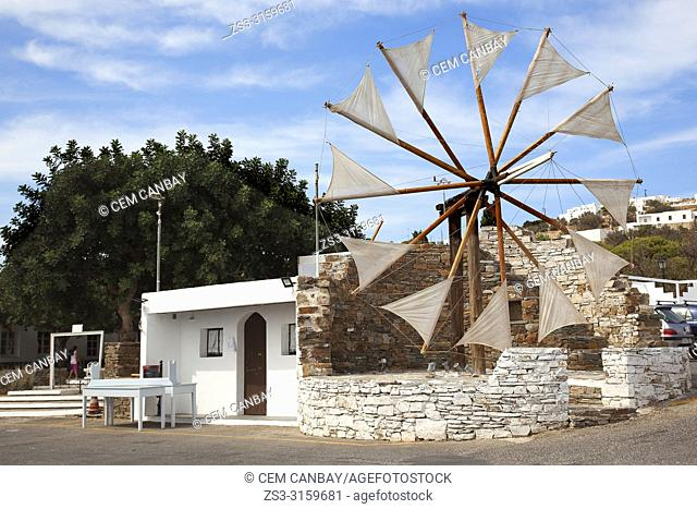 Traditional windmill in Artemonas village, Sifnos Island, Cyclades Islands, Greek Islands, Greece, Europe