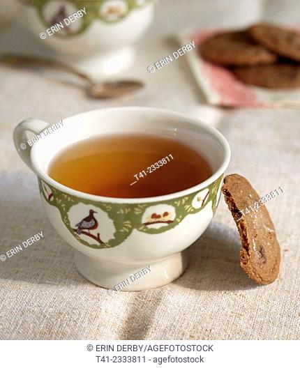Photograph of a cup of tea and a cookie