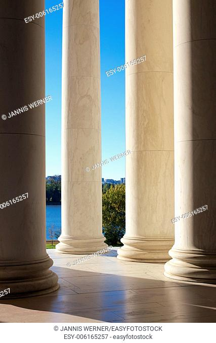 Colonnades at the Jefferson Memorial in Washington DC, USA