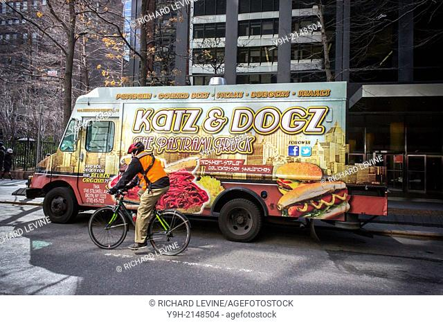 The Katz & Dogz food truck, serving Kosher-style delicatessen parked in Midtown Manhattan in New York. The iconic Katz's Delicatessen on the Lower East Side is...