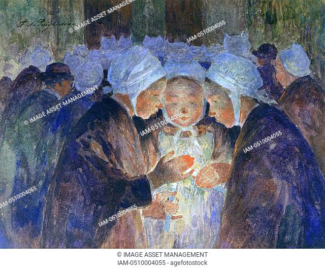 Young People from Breton before a Procession', 1864-1930 Fernand Loyen du Puigaudeau