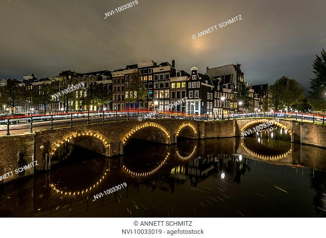 Prinsengracht at night, Amsterdam, Holland, Netherlands