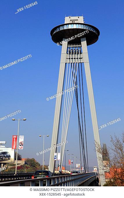 Novy Most bridge with the UFO restaurant, Bratislava, Slovakia